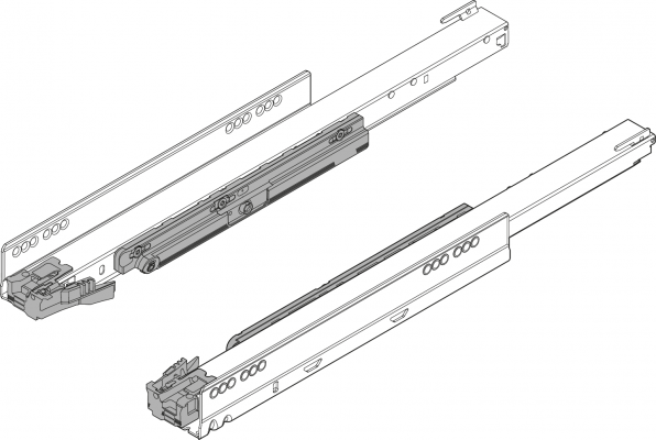 LEGRABOX cabinet profile with TIP-ON, full extension, 70 kg, NL=500 mm, left+right, ZN