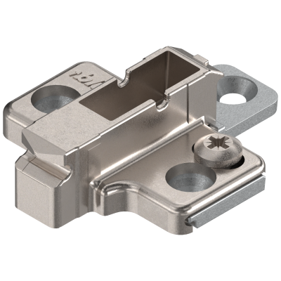 CLIP mounting plate, cruciform, 6 mm, zinc, SYSTEM SCREW, two-part, nickel