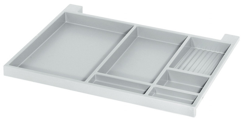 Extending pencil tray, for undermounting, plastic, light grey