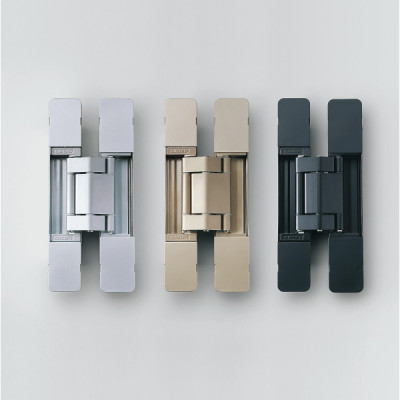HES 3D concealed hinge, 190 mm, max weight 100 kgs, with cover caps, dull chrome