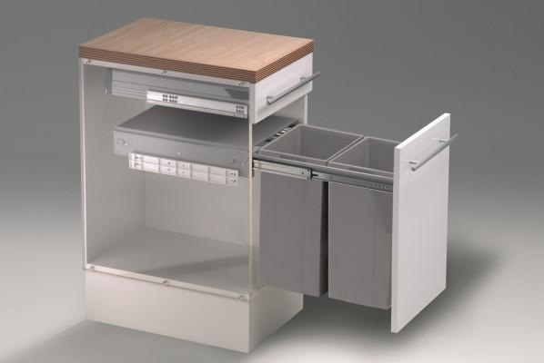 Bio double waste bin door mount, CW=400 mm, 64 litre(2x32 litre) recycler, WESCO, grey