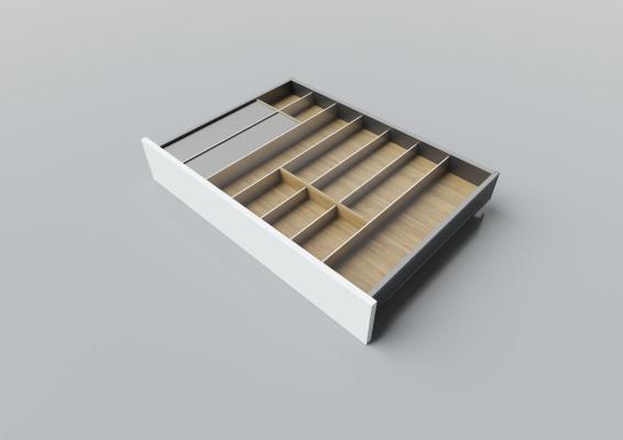 Cutlery divider for LEGRABOX/TA'OR C=700-950 mm, NL=550 mm, oak