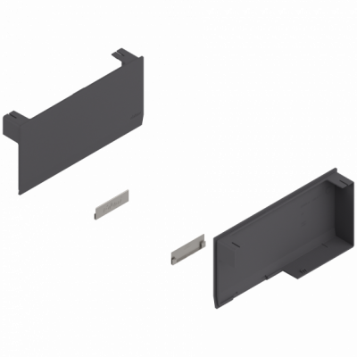 AVENTOS HK top stay lift, cover cap set, left+right, dark grey/stainless steel brushed
