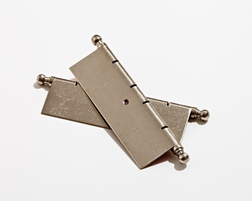 EuroButt II, decorative faux butt hinge inc pins, H=80 mm, satin nickel