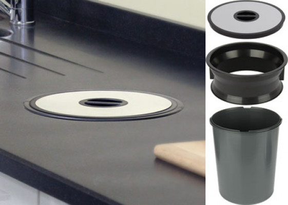 Worktop waste bin, for mounting in ø 276 mm hole, 13 litre bin, black plastic