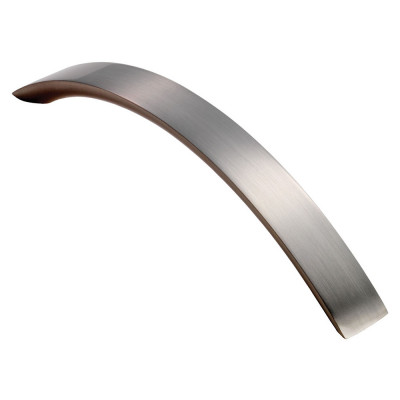 Curved convex grip handle, 128 mm, satin nickel