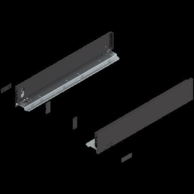 LEGRABOX drawer side, height M (91 mm), NL=500 mm, left+right, Black