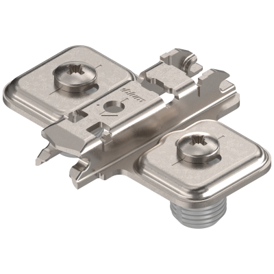 CLIP mounting plate, cruciform, 0 mm, steel, knock-in, elongated hole, nickel