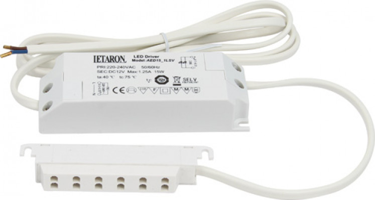 Led driver 240 v, with 6-way distributor, 15 w, for use with 12 v led lights, white