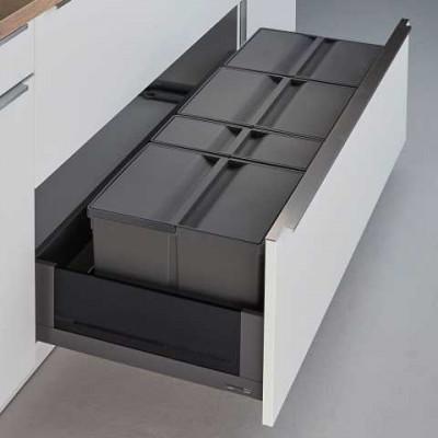 Pullboy 9XL for LEGRABOX bin & frame, CW=1200mm, 89 litre (3x26, 1x11litre), WESCO, grey