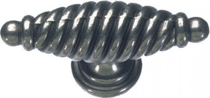 Pull handle, zinc alloy, 65x22 mm, twister, antique pewter