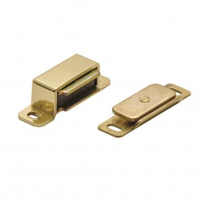 Steel magnetic catch (6 kg pull) 46x15x14 mm, brass