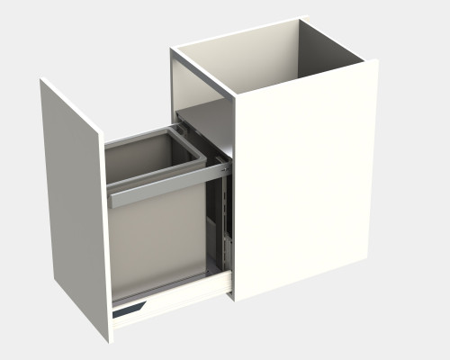 Door fitted bin for LEGRABOX, lid & frame, KINGSIZE, CW=450 mm, 55 litre (1x55 litre),grey
