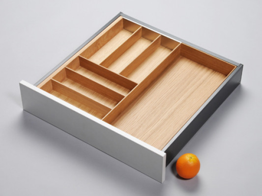 Cutlery divider for ANTARO/LEGRABOX/TA'OR C=500-700 mm, NL=550 mm, oak