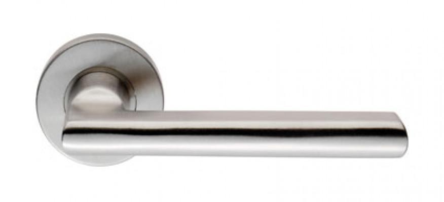 Designer lever on sprung rose, Steelworx, Ø 19 mm, satin stainless steel