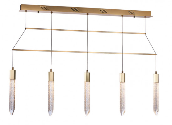 LED ceiling pendant, adjustable, IP20, 5 Light, Shard, mains voltage, gold
