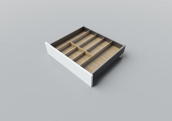 Cutlery divider for LEGRABOX/TA'OR C=550-650 mm, NL=500 mm, oak
