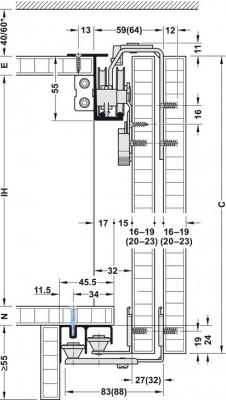 Top hung system, fitting set, 3 sliding cabinet doors, 21 mm, Slido classic 50 VF