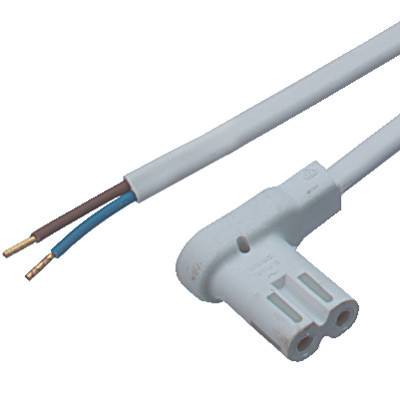 Angled Mains Lead Pl White 2M