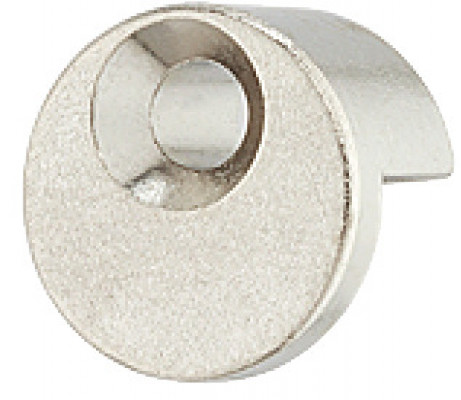 Mirror clip, round, with rubber pad, nickel