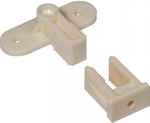 Dummy drawer front connector, permafix block, cream white plastic