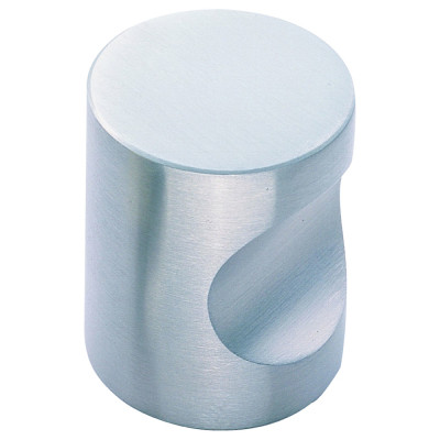Cylindrical knob, 16 mm, stainless steel, satin