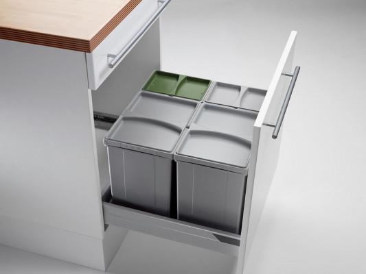 Pullboy vario bin & tray for ANTARO, 50 litre (2x17, 2x8 litre), CW=600mm, WESCO, grey