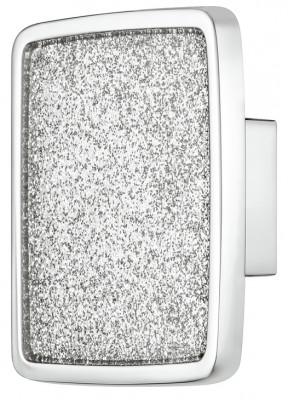 Knob, zinc alloy, 57x57 mm, glitter, chrome with glitter inner, sealed