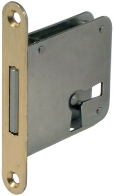 Mortice lock, lever bit, 2 position, steel, backset 20 mm, right /drawer mounting