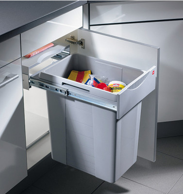 Pull out waste bin, 40 litres, hailo easy-cargo, for cabinet width min. 400 mm
