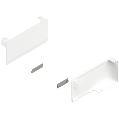 AVENTOS HK top stay lift, cover cap set, left+right, silk white/stainless steel brushed