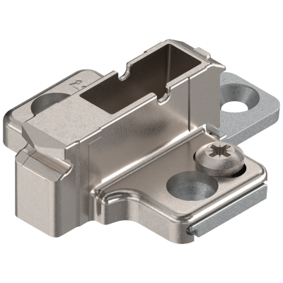 CLIP mounting plate, cruciform, 9 mm, zinc, SYSTEM SCREW, two-part, nickel