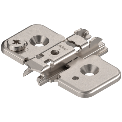 CLIP mounting plate, cruciform, 0 mm, steel, screw-on, cam adjustable, nickel