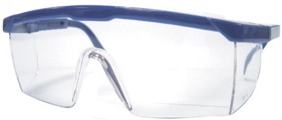 Safety glasses, wraparound, scratch resistant, adjustable side arms,nylon frame