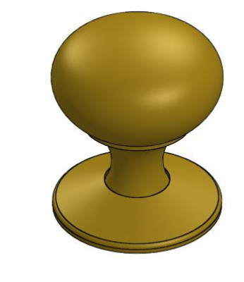 Knob, type V, 32 mm, oval with rose, burnished bronze