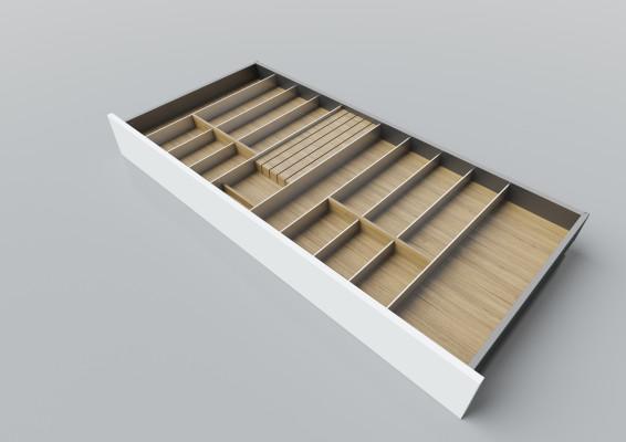 Cutlery divider for LEGRABOX/TA'OR C=1000-1200 mm, NL=550 mm, oak