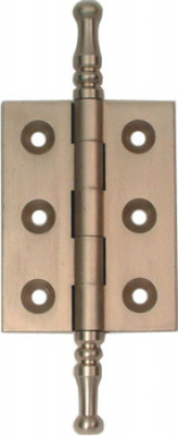Butt hinge, steeple finial, 50x38 mm, brass, unwashered, satin nickel