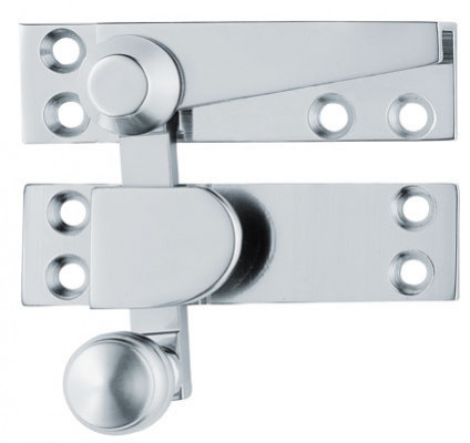 Sash fastener (quadrant arm), architectural, polished brass