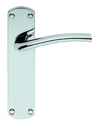 Serozzetta Cuatro door handle on backplate all door handle variations in polished chrome