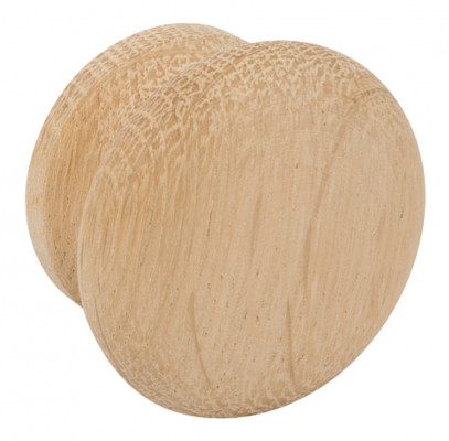 Knob, wood, unfinished, Ø 50 mm, oak