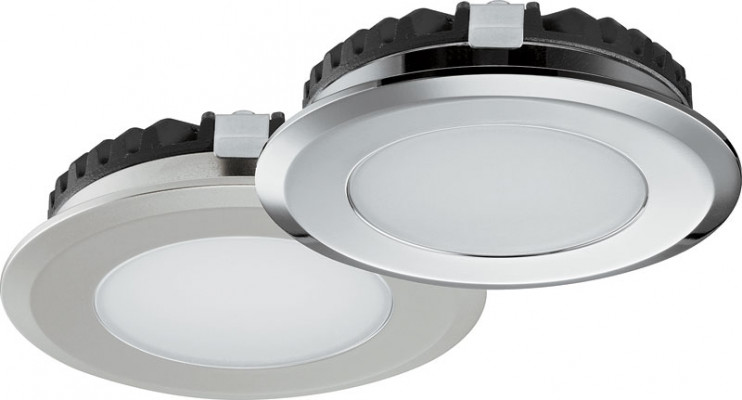 LED Bathroom downlight 12V,  65 mm, IP65, Loox LED, matt nickel, warm white 3000K