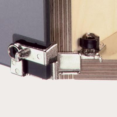 Glass door hinge, 210ø,  +30ø to -30ø corner application overlay doors, with catch, nickel