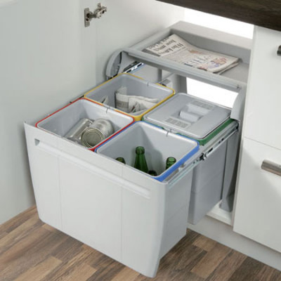 City Waste Bin 4X12Ltr 520mm Grey
