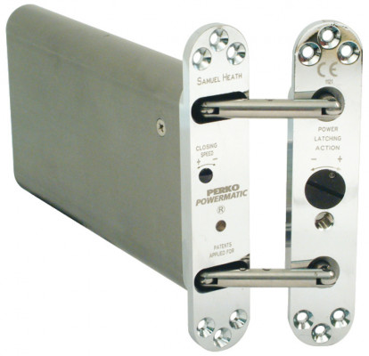 Concealed jamb door closer, hydraulic latch action, perko powermatic, satin chrome