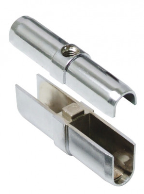 Oval wardrobe rail connector, connects 30x15 mm wardrobe rails together, chrome