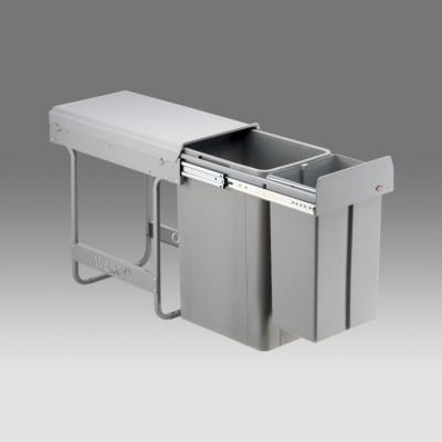 Big bio waste bin, CW= 300 mm, 36 litre (1x10 & 1x26 litre), double recycler, WESCO, grey