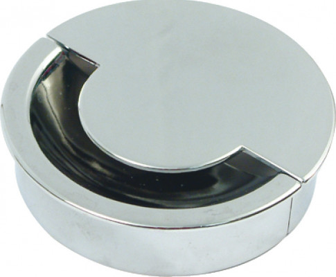 Cable outlet, Ø 80 mm, two part, steel, polished chrome