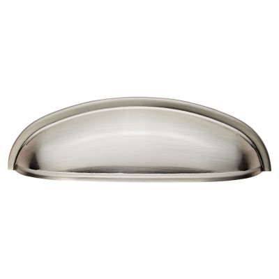 Modern shaker cup pull, centres 96 mm, satin nickel