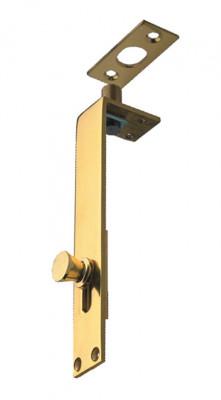 Flush bolt, knob slide, width 25 mm, brass, lengthxwidth: 152x25 mm, polished