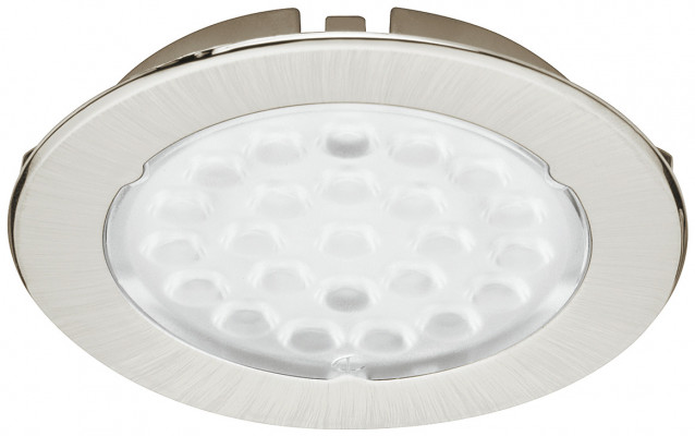 LED downlight 12V/1.6W,  68 mm, rated IP20, Loox compatible, warm white 3250K, stainless